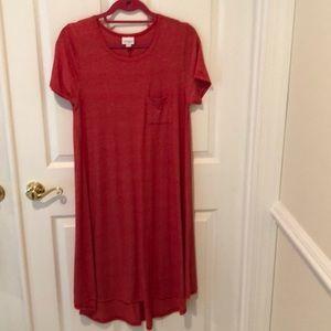 LuLaRoe red high low dress